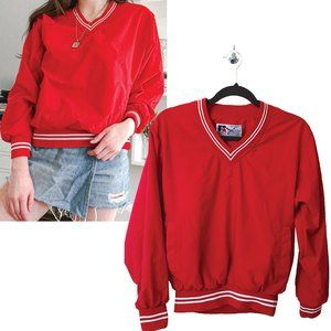 Vintage Red Pullover V-Neck Windbreaker